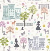 Lewis & Irene - Poodle & Doodle - 6358 - Dog Walking Scene on White - A360.1 - Cotton Fabric